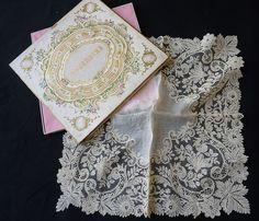 antique lace hankies | Exquisite antique gossamer Brussels point de gaze lace handkerchief ...