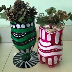 Make pretty vases from plastic bottles