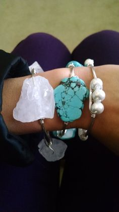 Wire wrapped bangle featuring genuine crystal quartz freeform stones handmade by love, rox jewelry. Each bangle includes three freeform natural