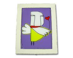 """Lampada con illustrazione """"LUCCIOLA"""" — quadro di luce ideato da SCARABOKKIO La Casa di Ninni"""