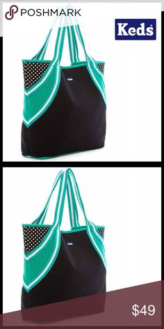 """KEDS STYLISH BAG KEDS STYLISH OVERSIZED TOTE BAG SIZING: 18"""" W x 13.75"""" H x 5"""" D BRAND- KED'S   COLOR- black, white, green    ABOUT THIS ITEM * Open top w/ magnetic closure * Interior- 2 slip & 1 wall zip pocket * Duo top handles, approx 9"""" drop * Exterior graphic design & polka dot print * High quality & well made MATERIAL-Textile Canvas exterior & lining   NO TRADES * BUNDLE DISCOUNTS * OFFERS CONSIDERED (Via the offer button only)  ITEM# SEARCH # shoulder bag bucket woven Keds Bags Totes"""