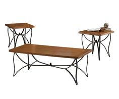 BERNARDS SANFORD WOOD AND METAL COFFEE TABLE SET, 3-PACK   -Click image twice for more info - See a larger selection of coffee table sets at http://zcoffeetables.com/product-category/coffee-table-sets/ - home, home decor, home ideas, furniture, gift ideas,