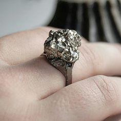 "Ring ""golden"" #raw #jewellery #jewelry #inspiration #stone #statement #silver #oxidized"