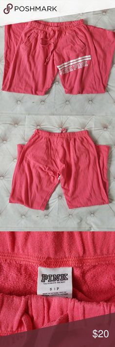 Pink Victoria Secret Pink Sweats Small Victoria Secret Pink Sweats sz Small.Well-loved.Normal wear such as some fade an pulling from standard wash and wear.Very comfortable and stylish.Dont miss out  Waist approx 30 inches Inseam-approx 31.5 Victoria's Secret Pants Track Pants & Joggers