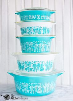 Vintage pyrex turquoise Butterprint Casseroles. From @kitchenmagpie's personal…