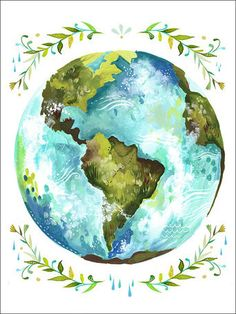 Dear Earth by Katie Daisy Painting Print on Wrapped Canvas