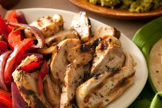 Basic Chicken Fajitas - Great any time of year, but on the hottest days this stove top meal is perfect - vegetables, legumes, lean meat, salsa and avocado. I don't do the sour cream, but that's up to you. Add a fruit salad or smoothie and you're set!