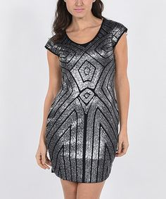 Another great find on #zulily! Black & Silver Art Deco Cap-Sleeve Dress #zulilyfinds