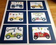 Vintage race car nursery kids wall art