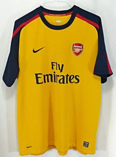 NIKE Men s Fly Emirates Arsenal Soccer Jersey Size XXL 2XL Yellow Blue Red e5b0da969