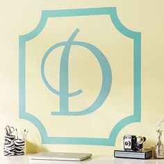 Letter Monogram from PB teen  http://www.pbteen.com/products/scallop-corners-wall-tape-decal/?pkey=cwall-decals&