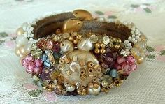 MIRIAM HASKELL BRACELET Frank Hess Beads/Pearls Vintage Early Coil Wrap