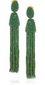 Oscar de la RentaBeaded tassel clip earrings