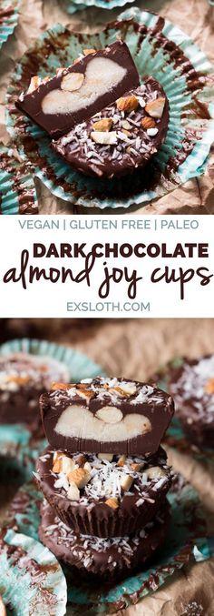 Easy 7 ingredient dark chocolate vegan almond joy cups (gluten free, paleo, dairy free, vegan) via ExSloth.com