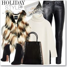 Holiday Style: Leather Pants by andrejae on Polyvore featuring Tory Burch, GUESS by Marciano, Yves Saint Laurent, Alaïa, Marni and holidaystyle