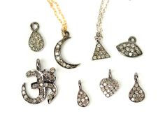 Moon necklace pave diamond necklace diamond charm