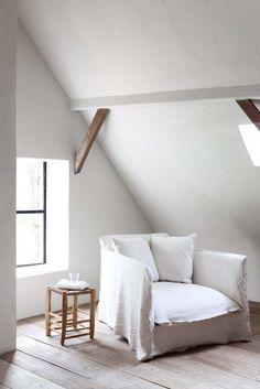 all white living - gorgeouse white armchair photo: Attic Renovation, Attic Remodel, White Armchair, Modern Armchair, Living Spaces, Living Room, Attic Rooms, Attic Apartment, Attic Bathroom