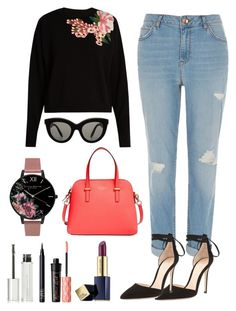 """""""Untitled #49"""" by tazkiasaras on Polyvore featuring Dolce&Gabbana, River Island, Gianvito Rossi, Victoria Beckham, Kate Spade, Estée Lauder, Olivia Burton, Benefit, NARS Cosmetics and Givenchy"""