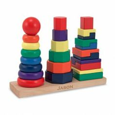 Geometric Stacker Wooden Stacking Toy $16.97 This colorful kids stacking toy from Melissa & Doug includes 25 wood pieces stackable in different ways, providing hours of entertainment and delightful learning for your child. http://www.educationaltoysplanet.com/geometric-stacker.html