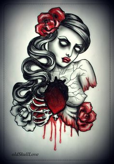 Traditional Sacred Heart Tattoo Designs | DEAD HEART tattoo design by oldSkullLovebyMW