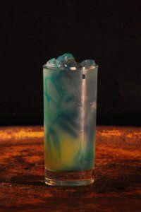Electric Smurf  1 oz Malibucoconut rum 1 oz Blue Curacao liqueur Sprite soda pineapple juice  Put three ice cubes in a glass then add Malibu and Blue Curacao. Fill glass half with Sprite half with Pineapple Juice. Stir and Serve. Serve in a Hurricane Glass.