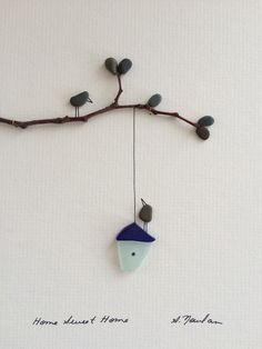 8 by 10 sea glass birdhouse home sweet home, pebble art by sharon nowlan