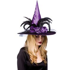 Adults Deluxe Witches Hat With Feathers Fancy Dress Halloween Accessory - Purple