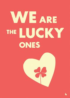 Romantic lucky love clover heart red typography poster by kyd13, $17.95