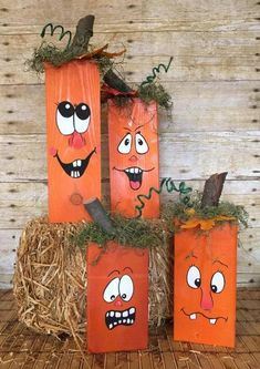 Hottest Images Wooden Pumpkins - Hand Painted Pumkins - Fall Decor - Pumpkin Blocks - Halloween - Pumpkins - Silly Face Pumpkins Thoughts Pumpkins in many cases are wonderful circular, bright red, and in autumn they must not be lacking es Fall Pumpkin Crafts, Fall Wood Crafts, Halloween Wood Crafts, Fall Halloween, Diy Crafts, Wooden Crafts, Wooden Pumpkin Crafts, Wooden Halloween Decorations, Rock Crafts