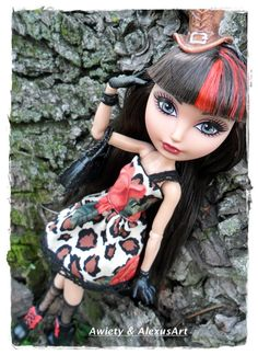 "Wildly Fun ""Leopard Blossom"" Dress Only Fits Monster High or Ever After High Dolls Ooak Doll Designer Fashions Mh / Eah Custom Clothes by awiety on Etsy"