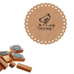 Free to Forage Hen   Olive Wood Stamp