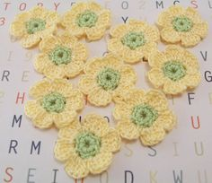 Crocheted Flower Appliques  Maize by FineThreads on Etsy, $3.50