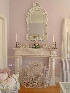 Love the matched mantle & mirror and colors!!
