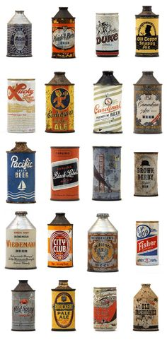 Vintage beer cans Vintage Packaging, Beer Packaging, Packaging Design, Beer Can Collection, Design Package, Old Beer Cans, All Beer, Beer 101, Design Food