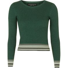 TOPSHOP PETITE Stripe Crop Jumper ($50) ❤ liked on Polyvore featuring tops, sweaters, petite tops, green crop top, striped sweater, petite jumpers and striped top