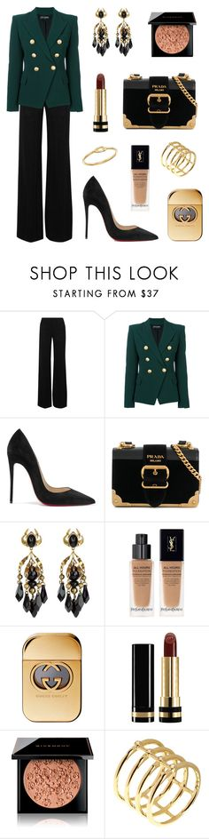 """Power Look"" by tasha-m-e ❤ liked on Polyvore featuring Missoni, Balmain, Christian Louboutin, Prada, Gucci, Yves Saint Laurent, Givenchy, Elizabeth and James and Ippolita"