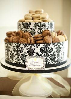 Cake Stand - color of the damask can be changed to ivory and white.