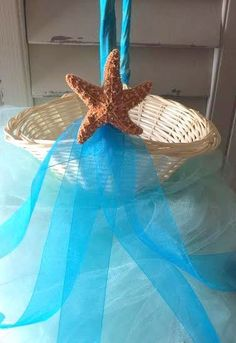Beach Wedding Turquoise Starfish Flower Girl Basket Table Decor by Ruby Fippers | eBay