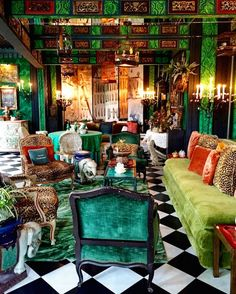 Garden room lighting Incredible maximalist drawing room with dark green and light green velvet mixed with leopard skin prints and luscious green plants. Bohemian House, Bohemian Interior, Bohemian Decor, Store Concept, Architecture Restaurant, Maximalist Interior, Deco Restaurant, Superflat, Retro Home Decor