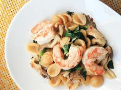 One-Pot Wonders: Orecchiette With Shrimp, Spinach, and Mushrooms