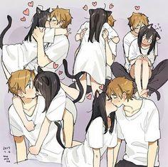 See more 'Catgirl / Neko' images on Know Your Meme! Anime Neko, Gato Anime, Anime Kiss, Kawaii Anime Girl, Couple Manga, Anime Love Couple, Anime Couples Manga, Cute Couple Comics, Cute Comics