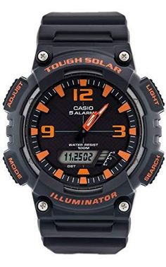 size 40 b72fe bb986 Casio Men s Solar Sport Combination Watch Matte Grey Orange