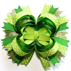 "4"" St. Patrick's Day Glitter Emerald Lime Green & Polka Dots Stacked Hair Bow"