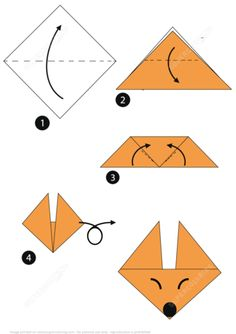 Origami Step by Step Instructions of a Fox Face from Origami (Paper Folding) category. Hundreds of free printable papercraft templates of origami, cut out paper dolls, stickers, collages, notes, handmade gift boxes with do-it-yourself instructions.