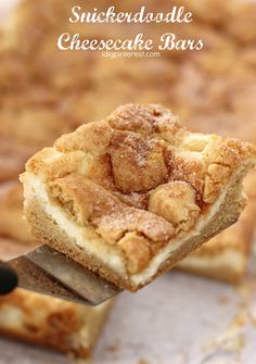 Snickerdoodle Cheesecake Bars. Soft Snickerdoodle Bars with a creamy cheesecake filling, finished with a perfect cinnamon sugar topping! This dessert will become a fast favorite! #snickerdoodles #snickerdoodlecookies #snickerdoodlerecipe #snickerdoodlecheesecake #cheesecakebars