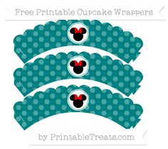 Free Teal Dotted Pattern Minnie Mouse Scalloped Cupcake Wrappers