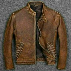 Jacket is available in High quality Real Leather. This jacket is a must piece to have in your wardrobe. This classic jacket gives a perfect stylish look that enhances your dressing. Vintage Biker, Vintage Leather Jacket, Men's Leather Jacket, Biker Leather, Vintage Men, Leather Men, Real Leather, Brown Leather, Motorcycle Leather