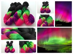 Northern Lights hand dyed yarn colorway by Witch Candy