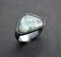 Moss Aquamarine Ring, Watery Sage Green Rose Cut Stone Oxidized Sterling Silver Ring March Birthstone Aquamarine Jewelry