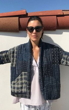 Patchwork Kantha Jacket in Indigo-Last one - Jackets Diy Clothing, Sewing Clothes, Mode Kimono, Kimono Jacket, Patchwork Jeans, Patchwork Quilting, Patchwork Blanket, Patchwork Dress, Kantha Quilt